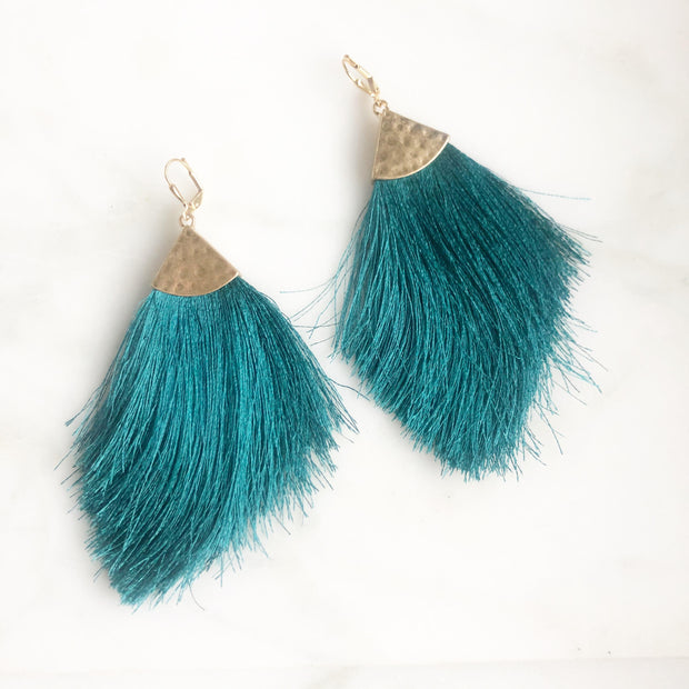 Marquise Tassel Earrings. Big Statement Fringe Earrings