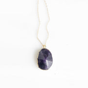 Amethyst Stone Statement Necklace in Gold