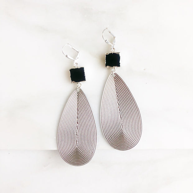 Silver Statement Earrings with Black Stones. Big Teardrop Earrings in Silver