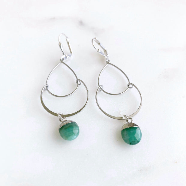 Emerald Oval Stone and Double Drop Dangle Earrings in Gold. Fashion Earrings
