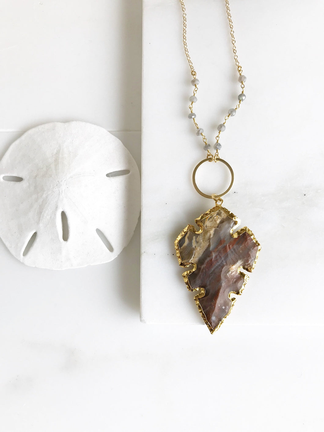 Arrowhead Pendant Necklace. Long Gold Circle and Brown Arrowhead Necklace.