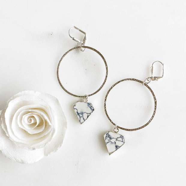 White Turquoise Shield and Silver Hoop Earrings. Marble Stone Dangle Hoop Earrings
