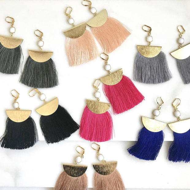 Tassel Chandelier Earrings in Gold. Colorful Tassel Earrings