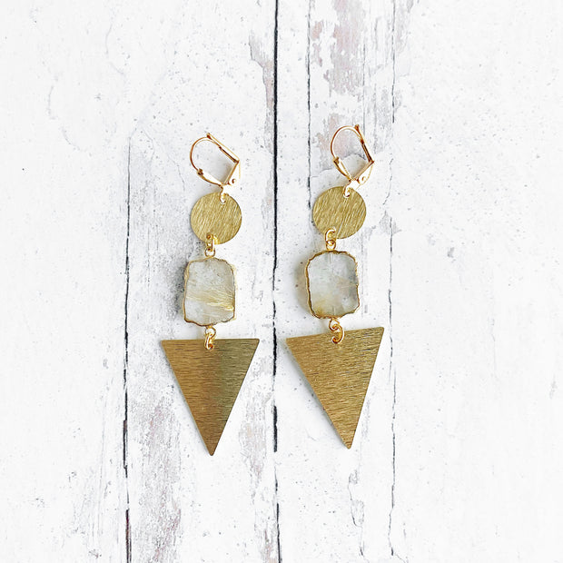 Long Gold Triangle and Clear Quartz Earrings. Gold Dangle Earrings. Geometric Earrings