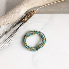 Load image into Gallery viewer, Set of Three Beaded Stretch Bracelets. Boho Beaded Bracelet. Aqua and Mustard Beaded Stacking Bracelet. Holiday Gift. Christmas Gift.
