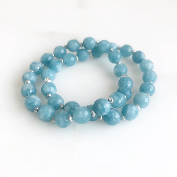 Set of 2 Stretchy Beaded Bracelets with Blue Jade Beads and Silver Accents