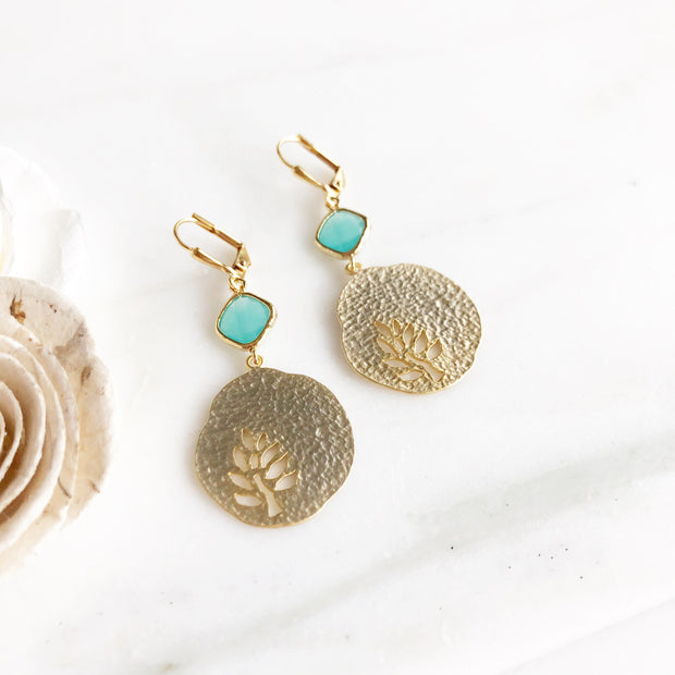 Gold Turquoise Cut Out Leaf Earrings. Gold Nature Earrings. Gold Plant Earrings. Turquoise Stone.
