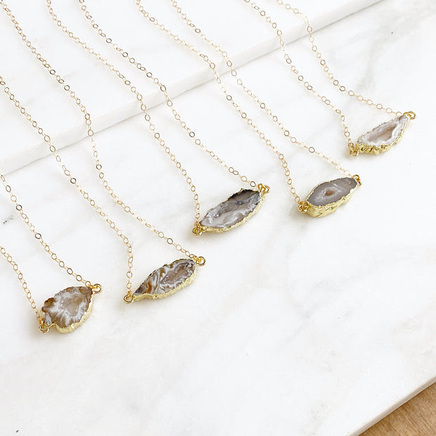 Simple Raw Druzy Necklaces in Natural Stone Colors and Gold