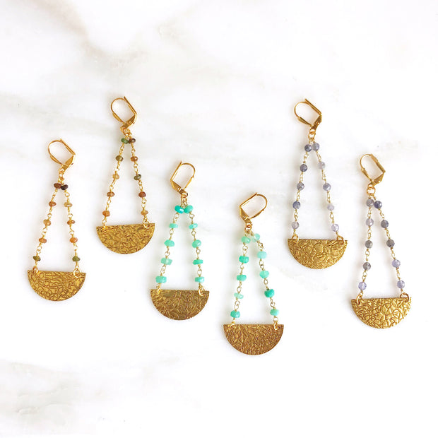Textured Crescent Beaded Chain Earrings