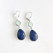 Navy Blue and Mint Jewel Gem Earrings in Silver. Dangle Earrings