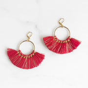 Red and Gold Fan Tassel Earrings. Gold Red Tassel Statement Earrings