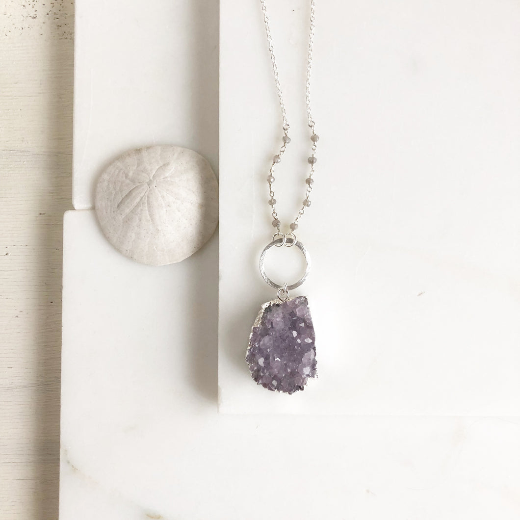 Purple Druzy Quartz Necklace in Sterling Silver. Long Raw Stone Necklace. Bohemian Jewelry. Gift for her.