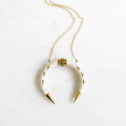 Long Horn Statement Necklace in Gold. Long Bold Crescent Necklace