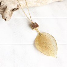 Load image into Gallery viewer, Long Gold Leaf and Brick Red Druzy Necklace with Moonstone Beaded Chain. Fall Colors Druzy Pendant Necklace. Druzy Necklace. Boho Necklace.