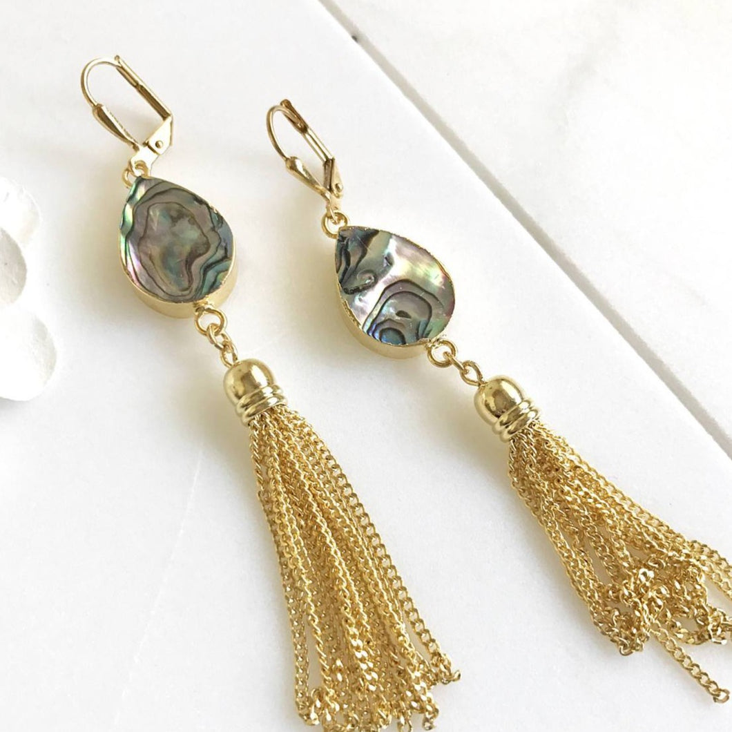 Gold Tassel Earrings. Drop. Dangle. Mother of Pearl Tassel Earrings. Tassel Jewelry. Jewelry Gift. Dangle Earrings. Modern. Gift.