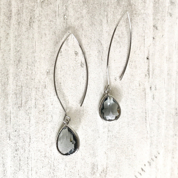 Drop Earrings. Charcoal Dangle Earrings. Charcoal Jewelry. Bridesmaids Earrings. Bridal Jewelry. Grey Drop Earrings. Wedding Earrings.