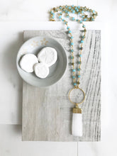 Load image into Gallery viewer, Long Boho Crystal Necklace in Gold. Selenite Stone Circle Necklace with Teal Gemstone Beaded Chain. Long Bohemian Necklace. Gift.