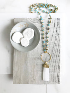 Long Boho Crystal Necklace in Gold. Selenite Stone Circle Necklace with Teal Gemstone Beaded Chain. Long Bohemian Necklace. Gift.