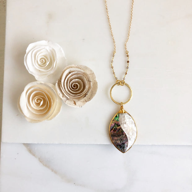 Long Necklace with Mother of Pearl Pendant in Gold. Long OOAK Boho Statement Necklace