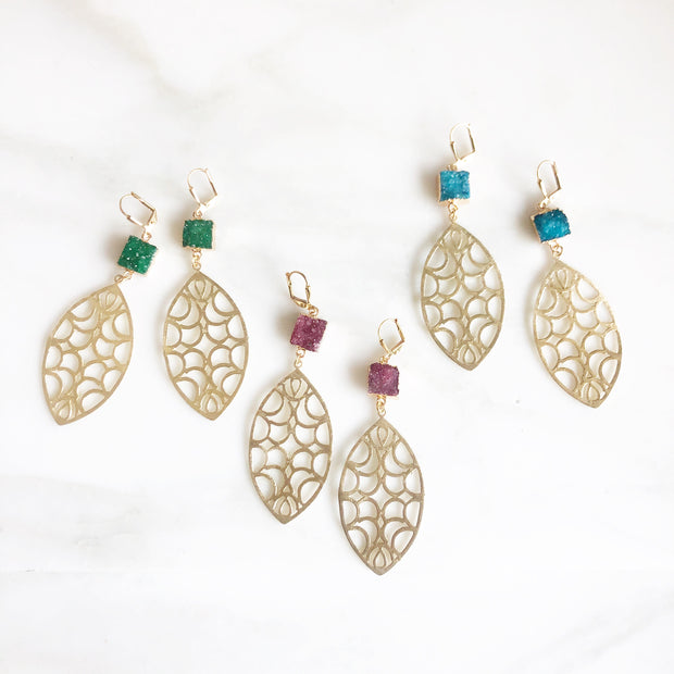 Druzy Statement Earrings. Long Gold Earrings with Teal, Green or Ruby Red Druzy Quartz Stones