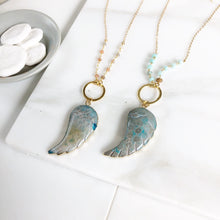 Load image into Gallery viewer, Long Wing Necklace. Geode Slice Necklace. Long Gold Wing Slice Necklace. Long Boho Gold Stone Necklace. Bohemian Jewerly. Gift.