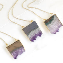 Load image into Gallery viewer, Amethyst Slice Crystal Necklace. Geode Necklace. Druzy Jewelry. Natural Crystal Necklace. Amethyst Necklace. Raw Stone Jewelry. Gift.
