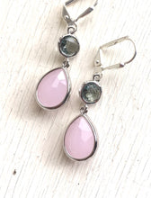 Load image into Gallery viewer, Soft Pink Teardrop and Charcoal Grey Jewel Drop Earrings in Silver. Pink Gray Bridesmaid Dangle Earrings. Jewelry Gift Her. Gift.