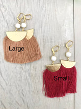 Load image into Gallery viewer, Red Tassel Earrings. Chandelier Earrings. Tassel Dangle Earrings. Statement Earrings. Jewelry. Gold Tassel Earrings. Christmas Gift.