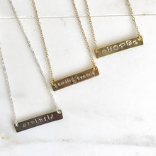 Load image into Gallery viewer, Sonoma Strong Bar Necklaces - Proceeds Donated - Gold Bar Necklace. Silver Bar Necklace. Rebuild. Hope. Sonoma Strong. Gratitude.
