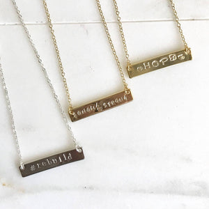 Sonoma Strong Bar Necklaces - Proceeds Donated - Gold Bar Necklace. Silver Bar Necklace. Rebuild. Hope. Sonoma Strong. Gratitude.