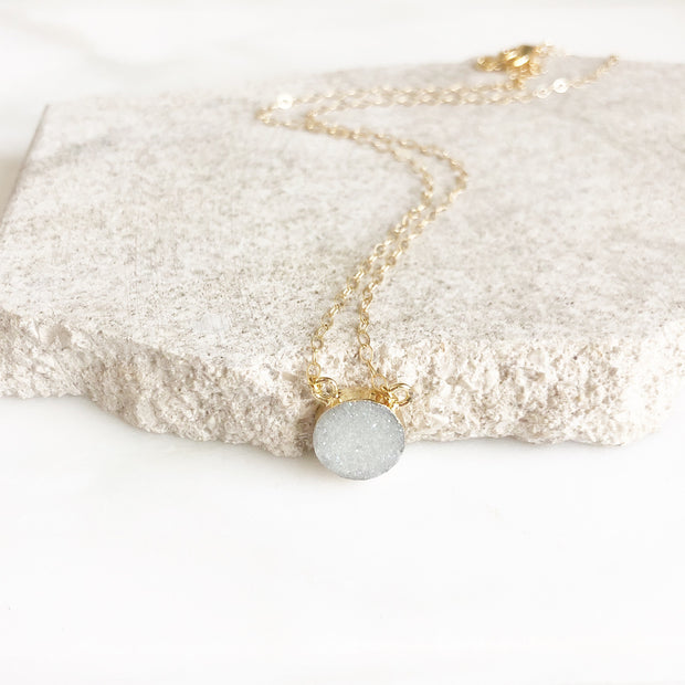 White Grey Druzy Circle Necklace in Gold. Dainty Druzy Pedant Necklace