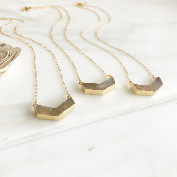 Chevron Druzy Necklace in Gold. Natural Brown Chevron Druzy Necklace