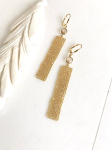 Gold Rectangle and Champagne Jewel Dangle Earrings. Statement Earrings. Jewelry Gift for Her. Free Shipping.