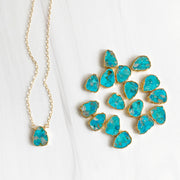 Turquoise Gemstone Slice Necklace in Gold. Simple Dainty Gemstone Layering Necklace