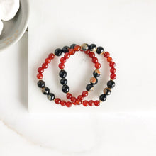 Load image into Gallery viewer, Set of Two Beaded Stretch Bracelets. Boho Beaded Bracelet Fall Colors. Red Black Gold Orange Stacking Bracelet. Holiday Gift Christmas Gift.
