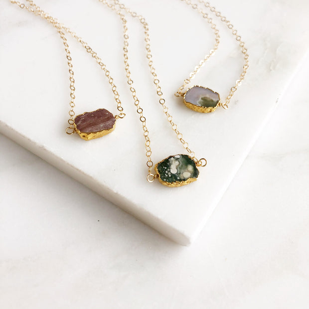Jasper Slice Necklace. Gemstone Slice Choker. Dainty Layering Necklace