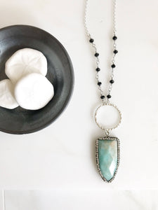 Long Amazonite Necklace with Black Beaded Gemstone Chain. Long Turquoise Necklace in Silver. Silver Boho Necklace.