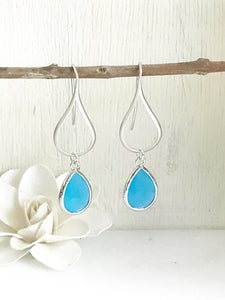 Sky Blue Drop Earrings. Dangle Earrings. Wedding Earrings. Silver Earrings. Jewelry Gift for Her. Dangle Earrings. Modern Drop Earrings.