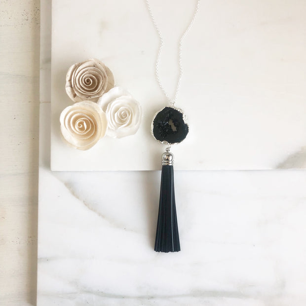 Black Quartz Druzy and Black Leather Tassel Necklace in Silver. Black Silver Tassel Necklace.
