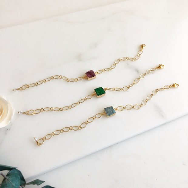 Gold Druzy Bracelets. Red Green and Aqua.