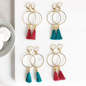 Red Burgundy and Emerald Green Tassel Earrings. Hoop Tassel Earrings. Chandelier Earrings. Jewelry. Gift. Statement Earrings.