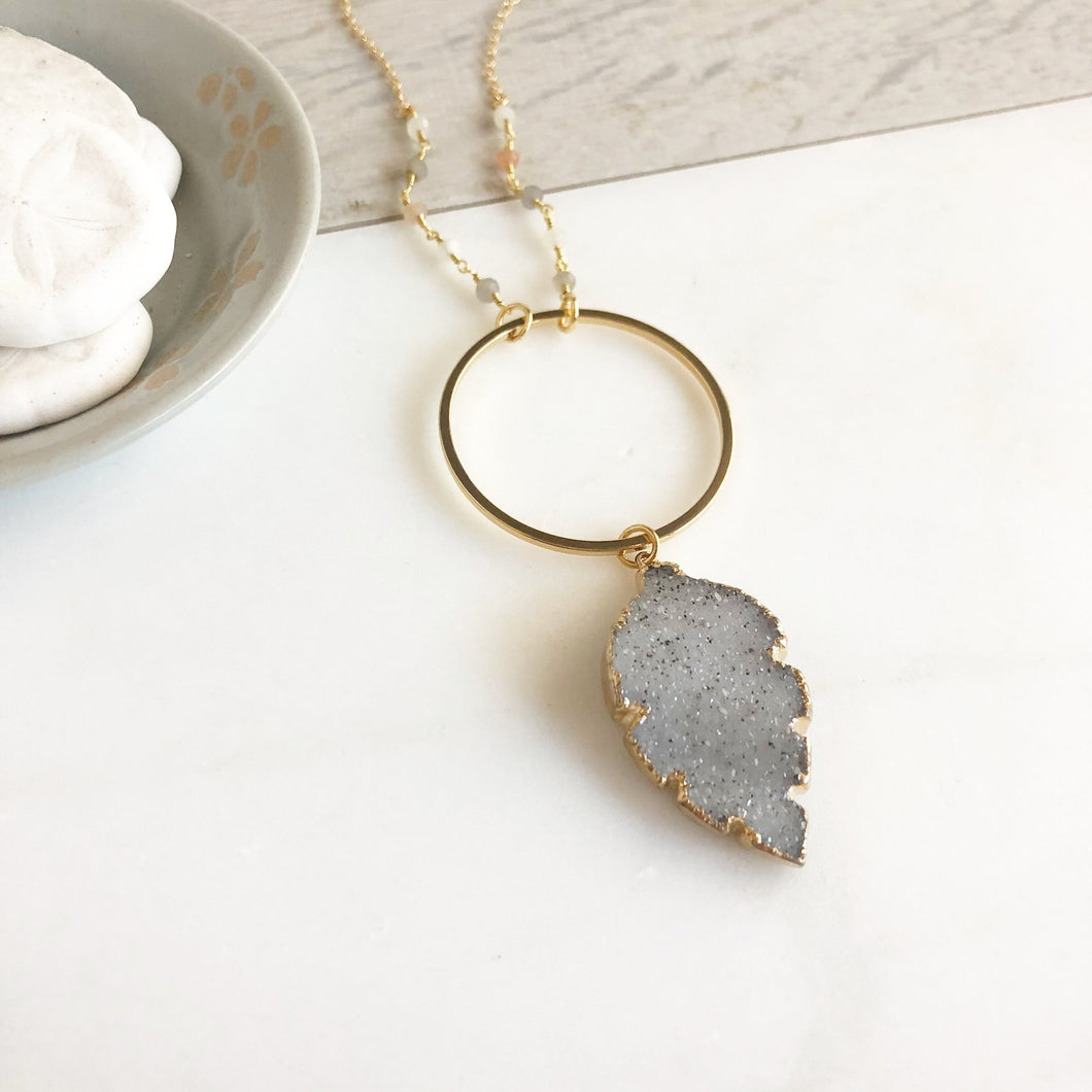 Long Grey Druzy Leaf Necklace. Grey Druzy Stone Necklace. Boho Necklace. Unique Jewelry Gift for Her. Gift. Druzy Quartz. Feather Necklace.