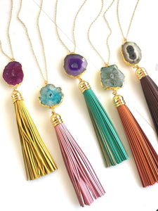 Tassel Necklace. Leather Tassel Necklace. Fall Colors Tassel Necklace. Solar Quartz Crystal Long Tassel Necklace. Boho Tassel Jewelry.