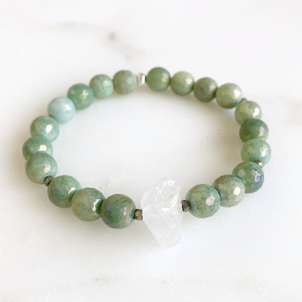 Raw Crystal Stretch Beaded Bracelets - Choose Stone