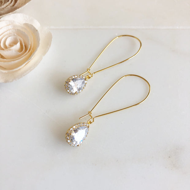 Large Simple Gold Bridal Drop Earrings. Cubic Zirconia Drops. Dangle Earrings.
