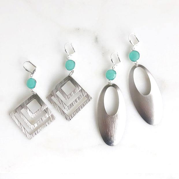 Aqua Chalcedony Statement Earrings in Silver. Big Bold Silver Earrings
