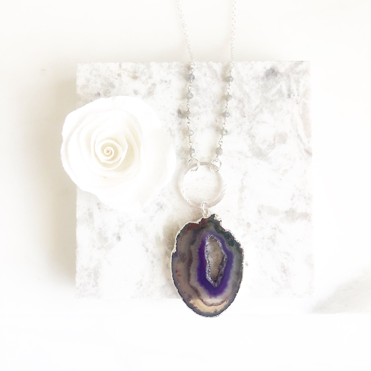 Purple Geode Ring Necklace with Labradorite Beading Accents. Sterling Silver Necklace.