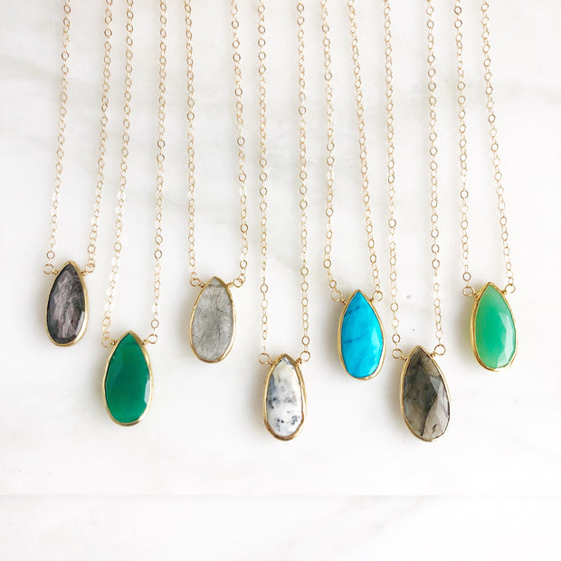 Teardrop Gemstone Necklace. Choose Your Stone