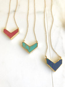 Colorful Chevron Layering Necklace in Gold. Red Turquoise Chevron Necklace. Statement Necklace. Layering Necklace. Gift.