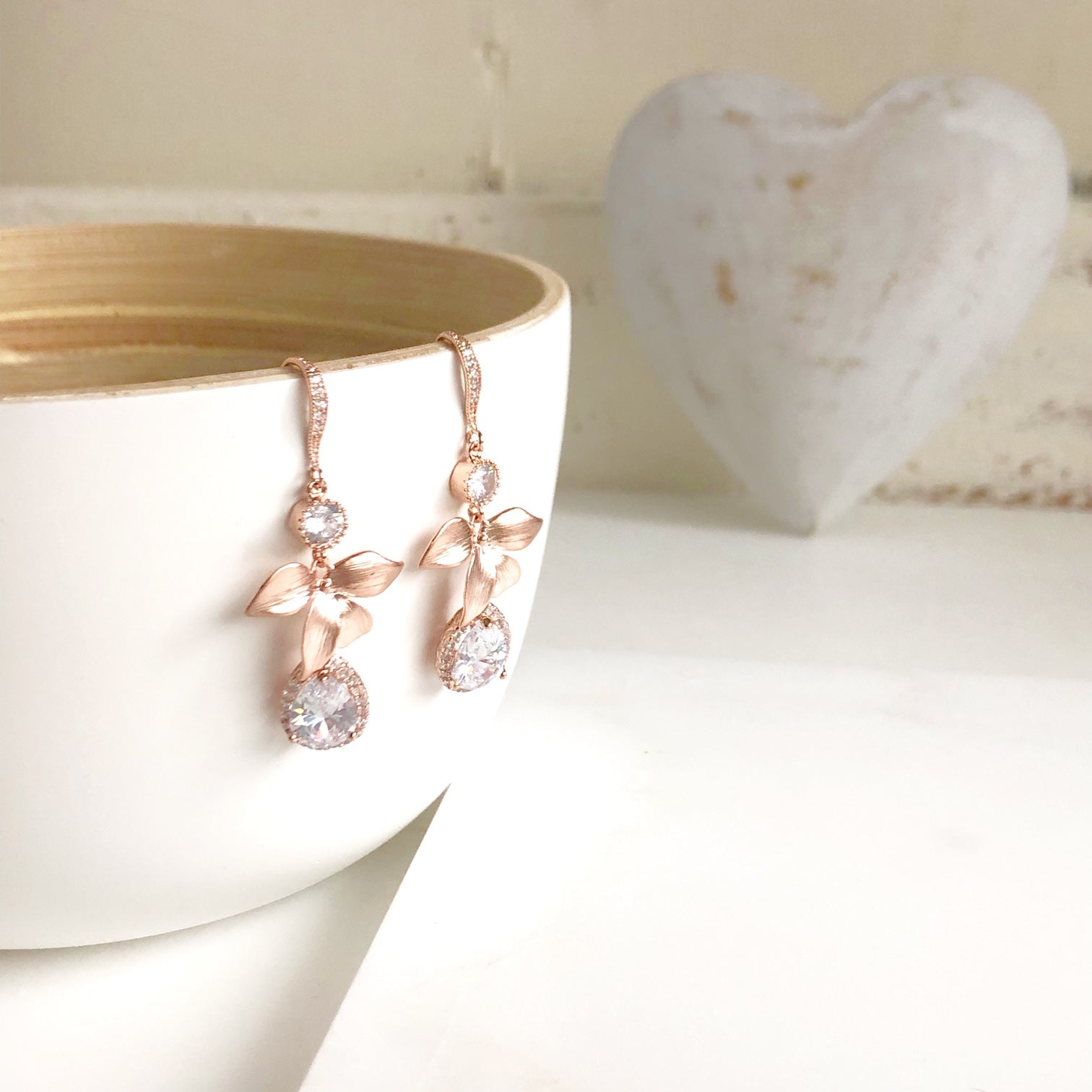 Rose Gold Flower Earrings. Bridal Earrings with Cubic Zirconia Stones.